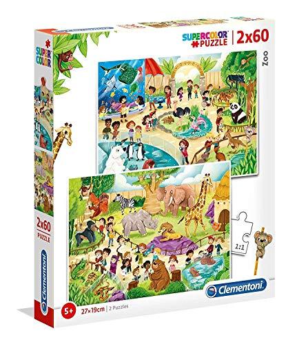 Clementoni- 2 Puzzles 60 Piezas Zoo, Color Mehrfarben (21603.1)
