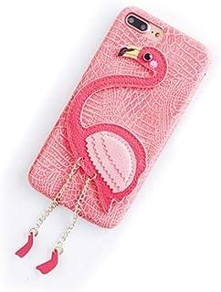 iPhone6 6s ケース スマホケース 革 レザー 赤 ピンク 動物 鳥 フラミンゴ かわいい おしゃれ 女性 ペア お揃い(iPhone 6,ピンク)