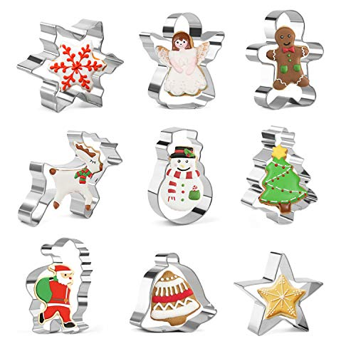 KAISHANE Christmas Cookie Cutter Set - 9 PCS Snowflake,Gingerbread Man,Christmas Tree,Snowman,Angel,Bell,Star,Reindeer,Santa Claus Stainless Steel Cookie Cutter for Biscuit, Fondant