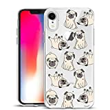 Unov Case Clear with Design Slim Protective Soft TPU Bumper Embossed Pattern [Support Wireless Charging] Cover for iPhone XR 6.1 Inch (Pug Dog)
