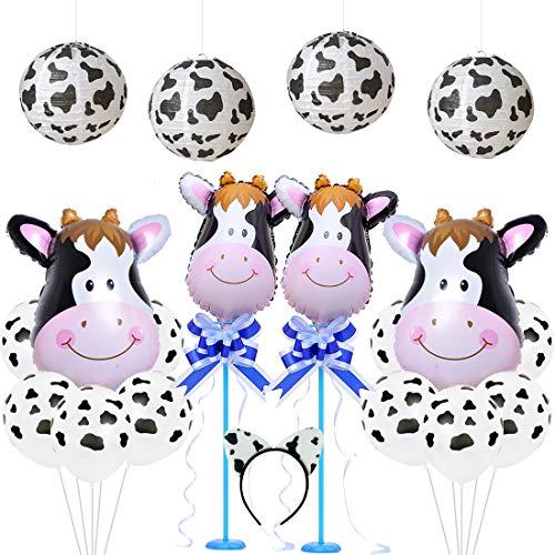 Jollyboom Decoraciones para Fiestas de cumpleaños de Vacas Linternas de Papel con Estampado de Vaca Globos de látex Diadema para Baby Shower 1 ° 2 ° 3 ° Cumpleaños