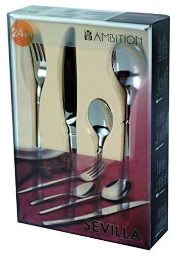 Dajar Sevilla 24-Piece Cutlery Set, Steel, Silver, 25.5 x 17 x 5.5 cm