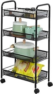Dxbqm Organisateur de Rangement Rangement de Cuisine, Organisateur de Salle de Bain Cuisine Rack Stockage Poussette 4 étag...