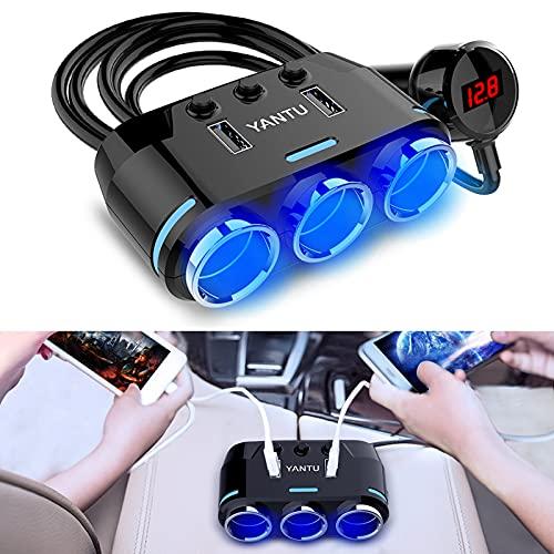 EEEKit 3 Enchufe Adaptador de Encendedor de Cigarrillos 12V/24V 100W Cargador de Coche con Doble USB 3.1A e Interruptor de Encendido/Apagado + Pantalla de Voltaje para iPhone iPad GPS Dashcam