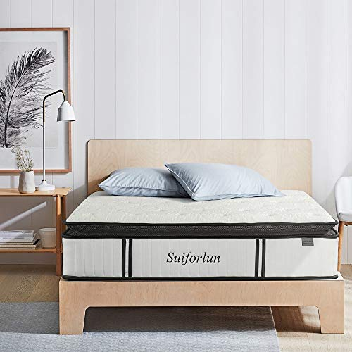 Suiforlun 12 Inch Pillow Top King Hybrid Mattress - Cool Gel Memory Foam and 3 Zone Individually Encased Pocket Coils, Back Pain Relief, CertiPUR-US Certified, 120 Nights Trial, 10-Year Warranty, King