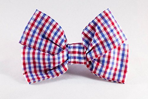 Preppy Red White and Blue Gingham Girl Dog Bow Tie, Ole Miss Rebels