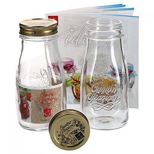 MamboCat 2er Set Quattro Stagioni Flasche 0,40l incl. Bormioli Rezeptheft - als Saft Smoothie Getränke Fläschchen, zur Dekoration oder als Einmachglas, Vorratsglas