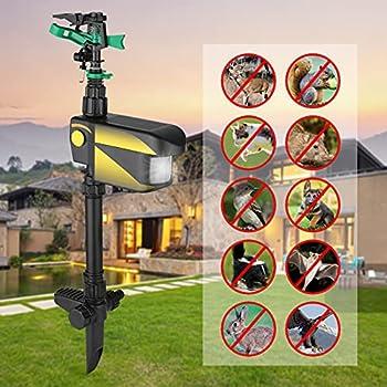 Repulsif Chat Exterieur,KKnoon Arroseur à énergie solaire activé par le mouvement répulsif pour animaux Yard Enforcer avec 3 modes de temps Angle de pulvérisation réglable et distance d'arrosage