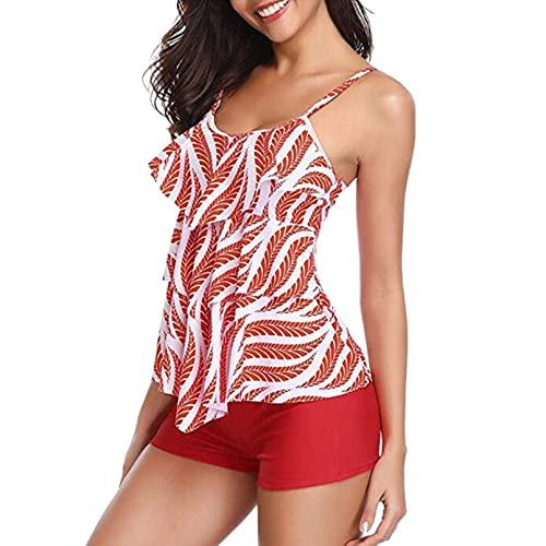 BAJIE Bikini Traje de Mujer con Volantes Conjuntos de Gran tamaño Mujeres Push Up Traje de baño de Gran tamaño con bañador S-2Xl Nuevo Traje de baño Ropa de Playa