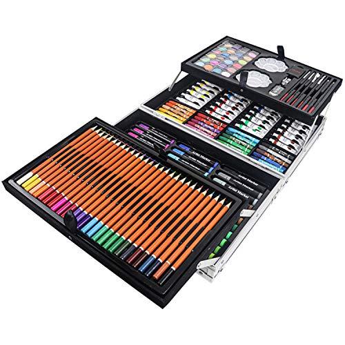 Aufun 145 Stück Malerei Set, Deluxe Künstler Malsets, Farben für Kinder umfassen Farbstifte Wasserfarben Ölpastell Und Malen Pinsel Usw
