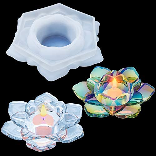 Palksky Lotus Tealight Candles Holders Resin Mold Flower Candlestick Epoxy Casting Silicone product image