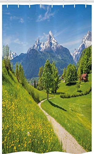 ABAKUHAUS Natur Schmaler Duschvorhang, Wilde Blumen in den Alpen, Badezimmer Deko Set aus Stoff mit Haken, 120 x 180 cm, Gelbgrün