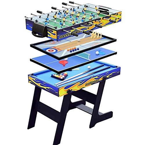 FSJD Mesa de Juegos múltiple Plegable 5 en 1, Que Incluye Billar/Bolos y Ping Pong/futbolín/tejo, Mesa de Juegos para niños Adultos, Noche Familiar, Gran Juego de Deportes, Juegos de Oficina en casa