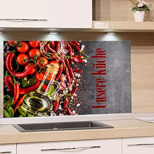 GRAZDesign Spritzschutz Glas für Küchenrückwand Herd, Bild-Motiv unsere Küche, Küchenspiegel Glasrückwand, Grau mediterran / 60x60cm