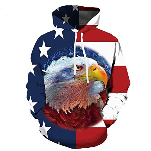Men's 3D Print Hoodie Novelty American Standout Eagle Graphic Pullover Long Sleeve Hooded Sweatshirts with Big Pockets Wydz - 0007 XXXL