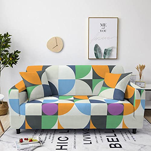 Tartán Verde Amarillo Funda de sofá de 3 Plazas Funda Elástica para Sofá Poliéster Suave Sofá Funda sofá Antideslizante Protector Cubierta de Muebles Elástica