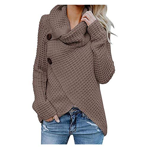iHENGH Damen Herbst Winter Übergangs Warm Bequem Slim Mantel Lässig Stilvoll Frauen Langarm Solid Sweatshirt Pullover Tops Bluse Shirt (Kaffee, 2XL)