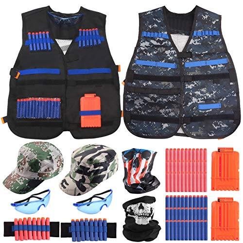 Joyhoop Kit de Chaleco Táctico para Niños, con 2 Chaleco táctico + 2 Gorra de Camuflaje + 2 muñequera + 2 Gafas Protectoras + 2 Scarf Mask + 2 Quick Reload Clips + 80 Bala Suave.