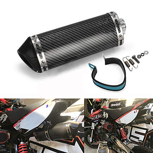 "JFG RACING Slip on Exhaust 1.5"" Inlet Stainelss steel Muffler With Moveable DB Killer For Dirt Bike Street Bike Scooter ATV Racing"