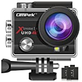 Campark Caméra Sport 4K 16MP WiFi Caméra d'action Étanche 30M avec 2 Batteries et...
