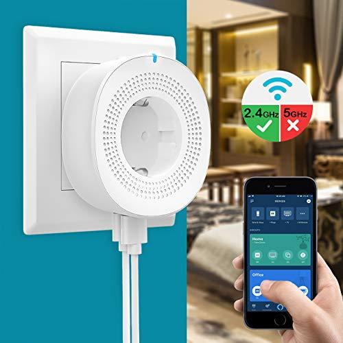 MoKo WiFi Enchufe Inteligente con 2 Puerto USB, Inalámbrico Smart Mini Plug de Energía del Zócalo del Interruptor Funciona con Alexa Echo Google Home, App Control Remoto y Función de Temporizador