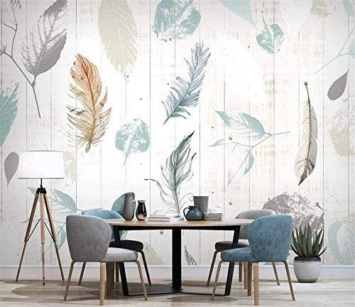 Mural nórdico planta hoja pluma moderno simple tablero de madera grano de madera TV Fondo papel de pared-350x210cm