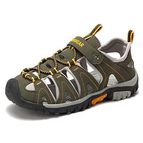 Gaatpot Unisex-Kinder Sandalen aus Leder fur Jungen Madchen Sommer Trekking Sandalette Sport-  Outdoor Strand Wanderschuhe Grun 27.5 EU,Etikette 27
