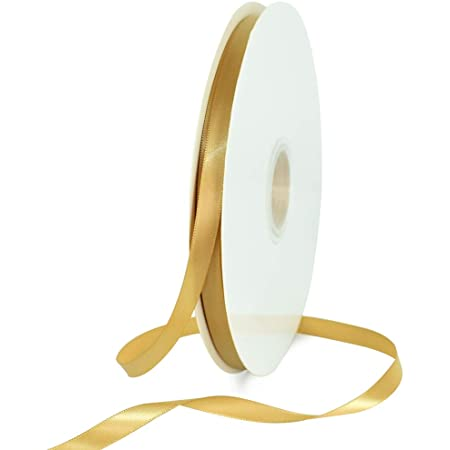 TONIFUL 3/8 Inch x 100yds Gold Satin Ribbon Thin Solid Fabric Ribbons Roll for Gift Wrapping Invitation Floral Hair Balloons Craft Sewing Party Wedding Popsicles Decoration