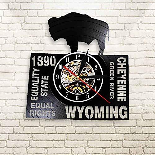 jiushixw 3D Wyoming, USA wurde im Jahr 890 mit gleichen Rechten LED blau Cheyenne Lampe antiken Fluss Font Recorder Wanduhr Uhr gegründet