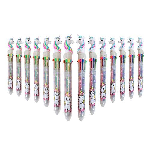 SUNSHINETEK Bolígrafos de unicornio de 10 colores en 1 color 14 piezas Pluma de tinta líquida multicolor Bolígrafo retráctil retráctil de Unicorn para regalos de la fiesta de la oficina de la escuela