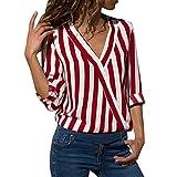 JURTEE Sommer Damen Streifen Oberteile Tiefem V-Ausschnitt Langarm Gestreift Irregulr Saum T-Shirt Bluse Tops(X-Large,Z-1# Rot)