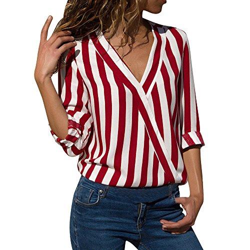 JURTEE Sommer Damen Streifen Oberteile Tiefem V-Ausschnitt Langarm Gestreift Irregulär Saum T-Shirt Bluse Tops(X-Large,Z-1# Rot)