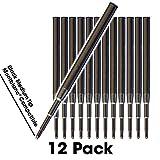 Jaymo - 12 - Recharges de stylo bille compatibles Montblanc - Noir - Encre allemande de taille lisse avec pointe moyenne de 7 mm -...