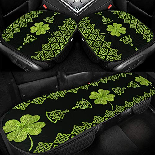 Car Ice Seat Cushion Universal Irish Four Leaf Lucky Clover Vintage Celtic Knot Car Seat Covers Antiskid Seat Pad Mat for Auto Accessories Office Chair Seat Protector Four Season Black