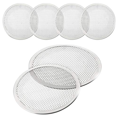 4 Pieces 10 Inch Seamless Round Pizza Screen Aluminum Mesh Pizza Screen Pizza Mesh Baking Tray for Home Kitchen Restaurant Supplies