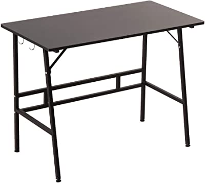 NOVII Office Computer Desk Modern Simple Study Desk with Wooden Table top and Sturdy Metal Frame Multifunctional Writing Desk Suitable for Office Living Room Study Bedroom(Black)
