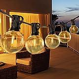 15M Guirnaldas Luminosas de Exterior, Cadena de Luces Exterior con 26 Bombillas E12 de Plástico Inastillable G40, Impermeable IP45 Guirnaldas Luces LED para de Jardines Patios Bares Fiestas GLUROO