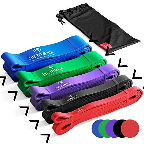 BeMaxx Banda Elástica de Resistencia Guía de Entrenamiento | para Pull–Ups, Crossfit, Yoga, Pilates | Banda de Tracción para Fitness y Estiramientos | Duradera, Resistente, Versátil (Juego de 5)