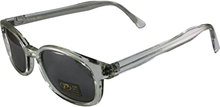 The Original X-KD's Biker Shades By PCSUN 20% Larger Clear Frames Silver Mirror Lenses