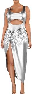GAGA Women Bodycon 2 Piece Dress Beach Clubwear Dress Bodysuit Slit Skirt Dress