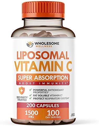 Liposomal Vitamin C Capsules 200 Pills 1500mg Buffered High Absorption VIT C Immune System Collagen product image