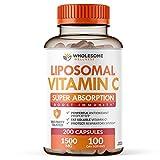 Liposomal Vitamin C Capsules (200 Pills 1500mg Buffered) High Absorption VIT C, Immune System & Collagen Booster, High Dose Fat Soluble Immunity Support Ascorbic Acid Supplement, Natural Vegan