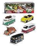 Majorette- Set de 5 Coches de Metal de 7,5cm (Escala 1:64) Marca Volkswagen- Majorette 2057615 (+4 años).