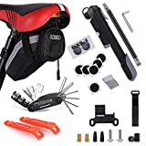 Bike Repair Kit, Bicycle-Tool-Set - with Saddle Bag, Portable 100PSI High Pressure Mini Pump Fits Presta & Schrader, 16 In 1 Multi Function Tools and Cycling Accessories. for Camping Travel Essentials