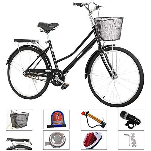 24/26 Signore Pollici Bici Bicicletta Città con Cesto, in Bicicletta Olandese, Stile retrò City Bike Trekking Luce della Bicicletta Citybike 1 velocità,Nero,24 inch