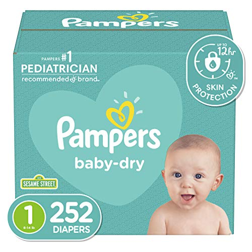 Diapers Newborn/Size 1 (8-14 lb), 252 Count – Pampers Baby Dry Disposable Baby Diapers, ONE MONTH SUPPLY