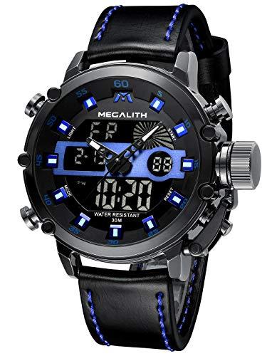 MEGALITH Relojes Hombre Digitales Militar Relojes Grandes LED Reloj de Pulsera Analogico Digital Deportivo Relojes de Hombre Cuero Impermeable Electrónico Cronometro Calendario - Negro Azul