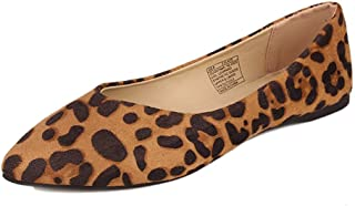 GUGUYeah Women's Leopard Pointed Toe Flats Shoes, Fashion Casual Style US Size 7.5