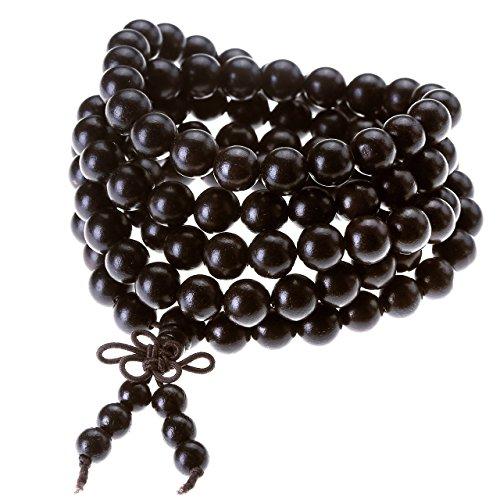 Jovivi Gioielli, Collana e braccialetto elastico da uomo e donna, tibetano buddista con perline in legno di ebano nero naturale da 8 mm