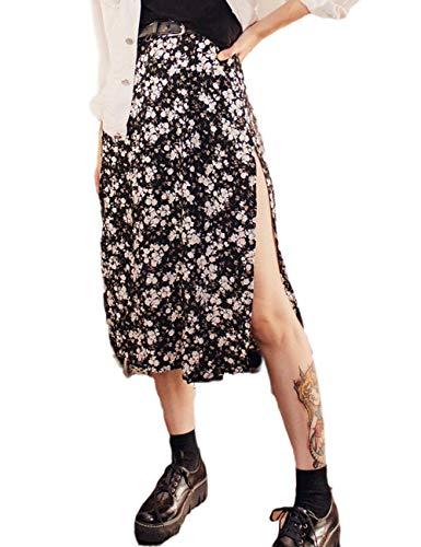 Falda de Leopardo Boho Sexy para Mujer Faldas a Media Pierna de Playa de Verano con Abertura Alta y Baja (Flower, L)